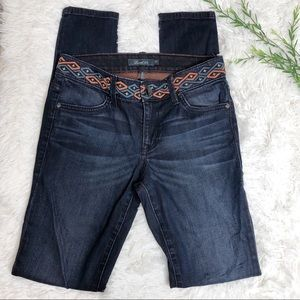 Level 99 - Embroidered Waistband Skinny Jeans